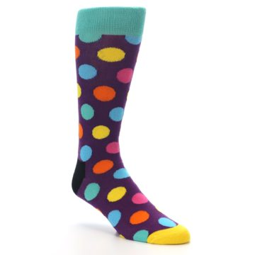 Image of Purple Yellow Multi Color Polka Dot Men's Dress Socks (side-1-27)