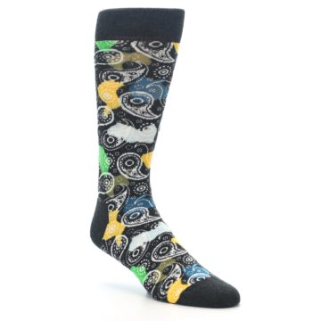 Image of Charcoal Multi Color Paisley Men's Dress Socks (side-1-27)