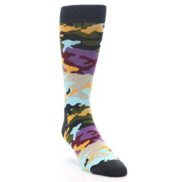 Image of Charcoal Tan Multi Color Camo Men's Dress Socks (side-1-front-02)