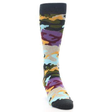 Image of Charcoal Tan Multi Color Camo Men's Dress Socks (side-1-front-03)
