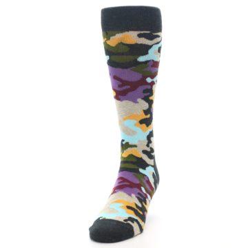 Image of Charcoal Tan Multi Color Camo Men's Dress Socks (side-2-front-06)