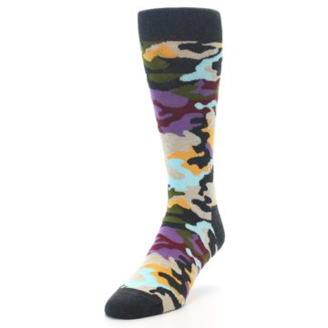 Image of Charcoal Tan Multi Color Camo Men's Dress Socks (side-2-front-07)
