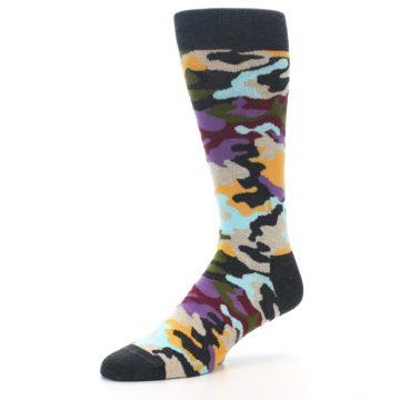 Image of Charcoal Tan Multi Color Camo Men's Dress Socks (side-2-09)