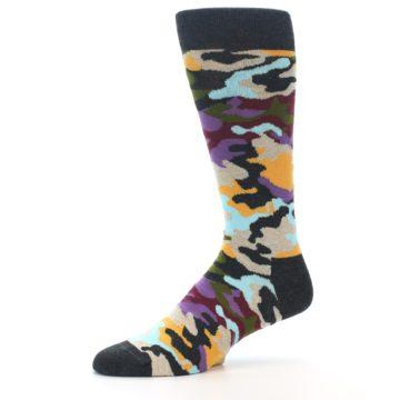 Image of Charcoal Tan Multi Color Camo Men's Dress Socks (side-2-10)