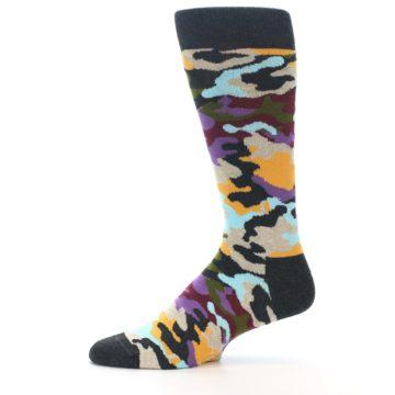 Image of Charcoal Tan Multi Color Camo Men's Dress Socks (side-2-11)