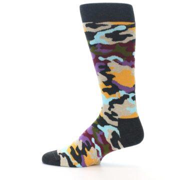 Image of Charcoal Tan Multi Color Camo Men's Dress Socks (side-2-12)