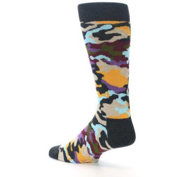 Image of Charcoal Tan Multi Color Camo Men's Dress Socks (side-2-back-14)