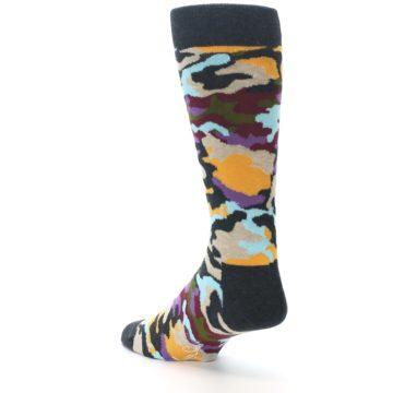 Image of Charcoal Tan Multi Color Camo Men's Dress Socks (side-2-back-15)