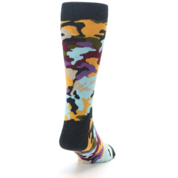 Image of Charcoal Tan Multi Color Camo Men's Dress Socks (side-1-back-20)