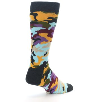 Image of Charcoal Tan Multi Color Camo Men's Dress Socks (side-1-back-22)