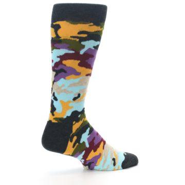 Image of Charcoal Tan Multi Color Camo Men's Dress Socks (side-1-23)