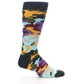 Image of Charcoal Tan Multi Color Camo Men's Dress Socks (side-1-24)