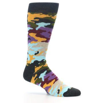 Image of Charcoal Tan Multi Color Camo Men's Dress Socks (side-1-25)