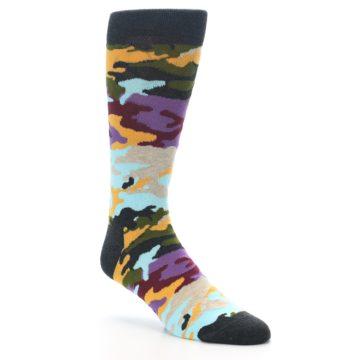Image of Charcoal Tan Multi Color Camo Men's Dress Socks (side-1-27)