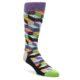 Image of Purple Khaki Multi Color Optical Men's Dress Socks (side-1-front-01)