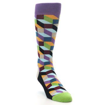 Image of Purple Khaki Multi Color Optical Men's Dress Socks (side-1-front-02)