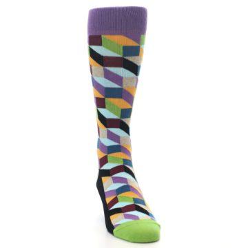 Image of Purple Khaki Multi Color Optical Men's Dress Socks (side-1-front-03)
