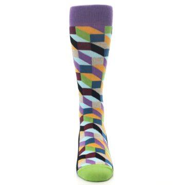 Image of Purple Khaki Multi Color Optical Men's Dress Socks (front-04)