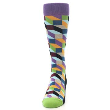Image of Purple Khaki Multi Color Optical Men's Dress Socks (front-05)