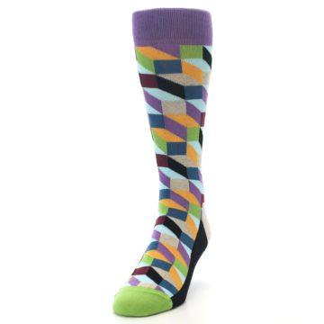Image of Purple Khaki Multi Color Optical Men's Dress Socks (side-2-front-06)