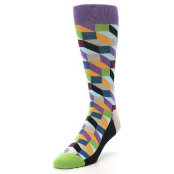 Image of Purple Khaki Multi Color Optical Men's Dress Socks (side-2-front-07)