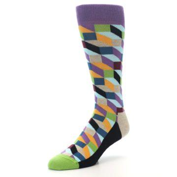 Image of Purple Khaki Multi Color Optical Men's Dress Socks (side-2-front-08)