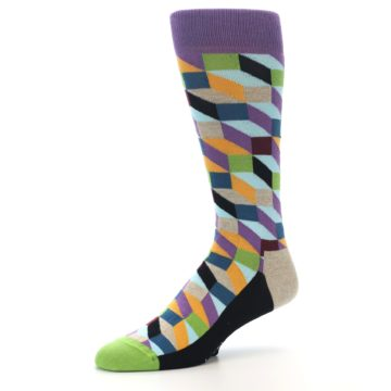 Image of Purple Khaki Multi Color Optical Men's Dress Socks (side-2-09)