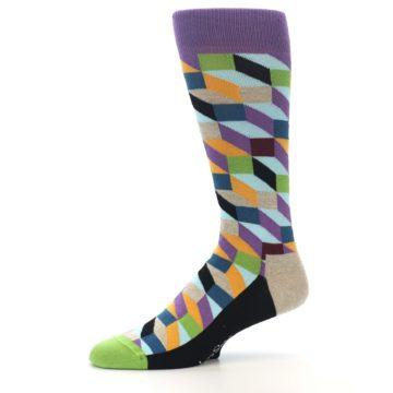 Image of Purple Khaki Multi Color Optical Men's Dress Socks (side-2-10)
