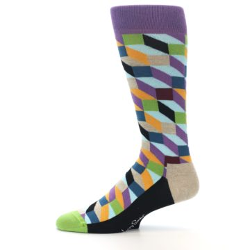 Image of Purple Khaki Multi Color Optical Men's Dress Socks (side-2-11)