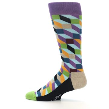 Image of Purple Khaki Multi Color Optical Men's Dress Socks (side-2-12)