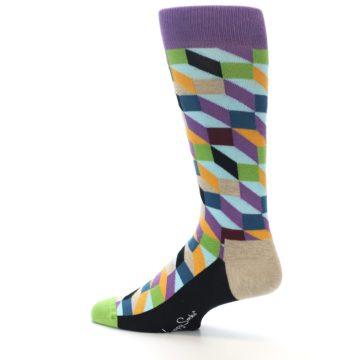 Image of Purple Khaki Multi Color Optical Men's Dress Socks (side-2-13)