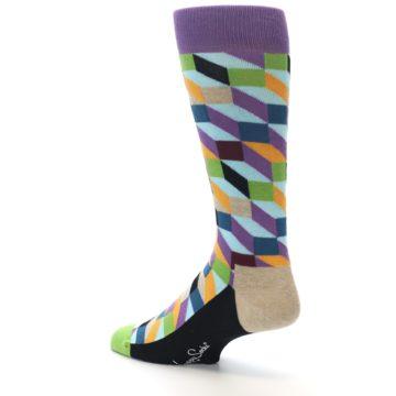 Image of Purple Khaki Multi Color Optical Men's Dress Socks (side-2-back-14)