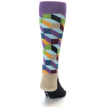 Image of Purple Khaki Multi Color Optical Men's Dress Socks (back-19)