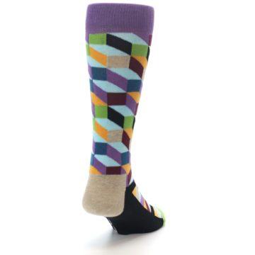 Image of Purple Khaki Multi Color Optical Men's Dress Socks (side-1-back-20)