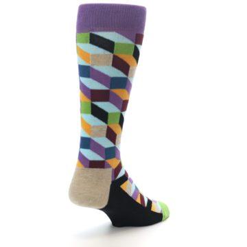 Image of Purple Khaki Multi Color Optical Men's Dress Socks (side-1-back-21)