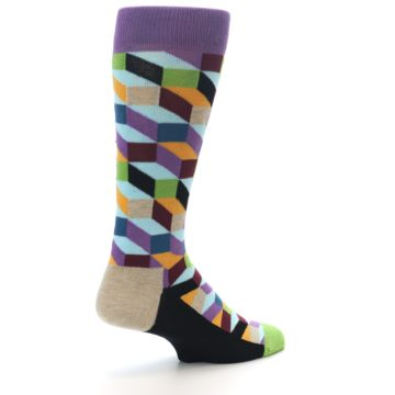 Image of Purple Khaki Multi Color Optical Men's Dress Socks (side-1-back-22)