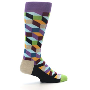 Image of Purple Khaki Multi Color Optical Men's Dress Socks (side-1-23)