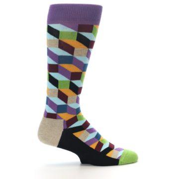 Image of Purple Khaki Multi Color Optical Men's Dress Socks (side-1-24)