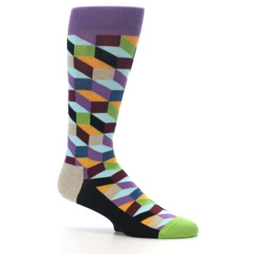 Image of Purple Khaki Multi Color Optical Men's Dress Socks (side-1-25)