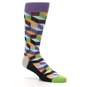 Image of Purple Khaki Multi Color Optical Men's Dress Socks (side-1-26)