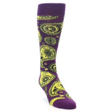 Image of Purple Yellow Black Paisley Men's Dress Socks (side-1-front-02)
