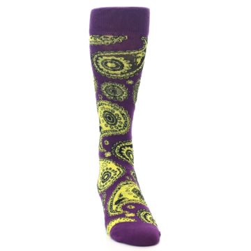 Image of Purple Yellow Black Paisley Men's Dress Socks (side-1-front-03)