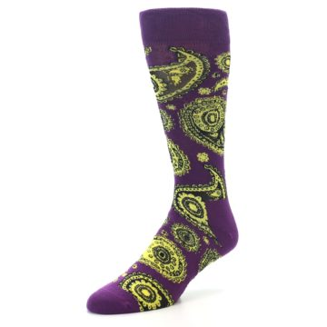 Image of Purple Yellow Black Paisley Men's Dress Socks (side-2-front-08)