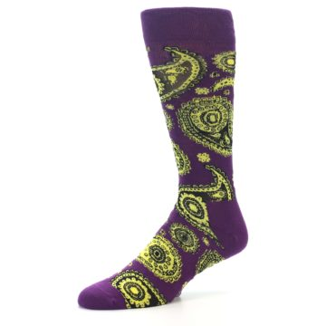 Image of Purple Yellow Black Paisley Men's Dress Socks (side-2-09)