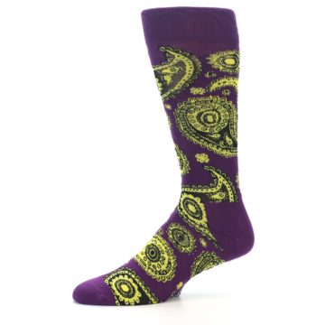 Image of Purple Yellow Black Paisley Men's Dress Socks (side-2-10)