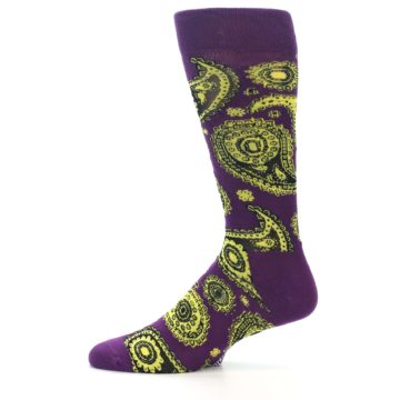 Image of Purple Yellow Black Paisley Men's Dress Socks (side-2-11)