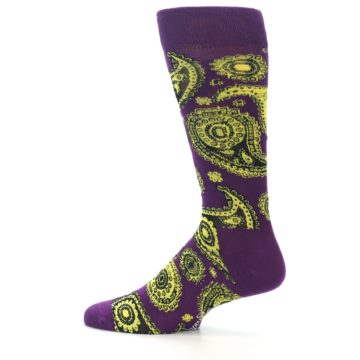Image of Purple Yellow Black Paisley Men's Dress Socks (side-2-12)