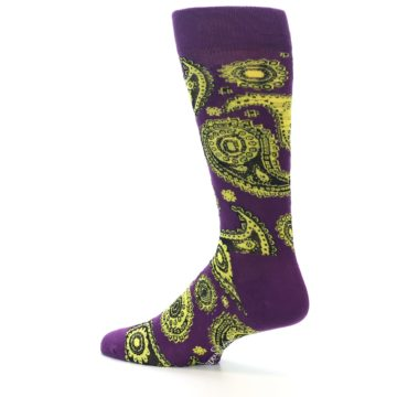 Image of Purple Yellow Black Paisley Men's Dress Socks (side-2-13)