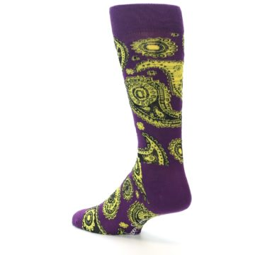 Image of Purple Yellow Black Paisley Men's Dress Socks (side-2-back-14)