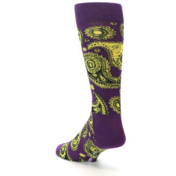 Image of Purple Yellow Black Paisley Men's Dress Socks (side-2-back-15)